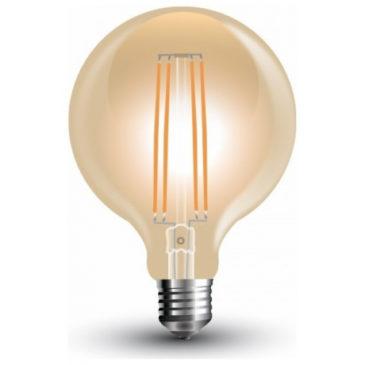 LED V-TAC Λάμπα Ε27 7W Vintage Special  Filament Σφαιρική G95 Amber Θερμό 2200K (7147)