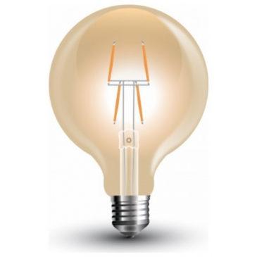 LED V-TAC Λάμπα Ε27 4W Filament Σφαιρική G80 Amber Θερμό 2200K (7148)