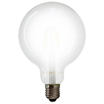 LED V-TAC Λάμπα Ε27 7W Filament Σφαιρική G125 Frost Cover Θερμό 2700Κ (7189)