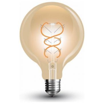LED V-TAC Λάμπα Ε27 5W Filament Σφαιρική G125 Gold Glass Καμπύλο Νήμα Θερμό 2200K (7216)
