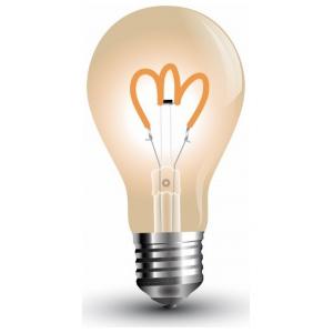 LED V-TAC Λάμπα 3W Filament E27 Α60 Gold Glass Καμπύλο Νήμα Θερμό Λευκό 2200Κ 7219 (7219)