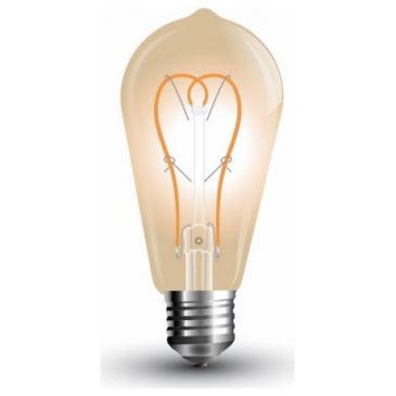 LED V-TAC Λάμπα 5W Long Filament E27 ST64 Gold Glass Καμπύλο Νήμα Θερμό Λευκό 2200Κ (7220)