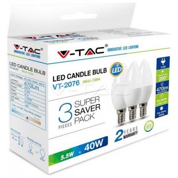 LED V-TAC Λάμπα E14 5.5W Κεράκι Πακέτο των 3 Τεμαχίων Φως Ημέρας 7264 (7264)