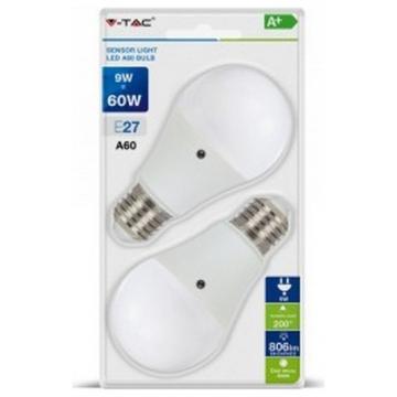 LED Λάμπα με Αισθητήρα μέρας / νύχτας E27 9W (A60) 200° VTAC Blister 2 Τεμαχίων Φώς Ημέρας 7286 (7286)