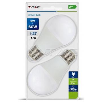 LED V-TAC Λάμπα E27 9W A60 200° Α+ Blister Φως Ημέρας 2PCS/PACK 7295 (7295)