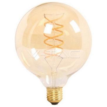 LED V-TAC Λάμπα Γλόμπος Ε27 6W Spiral Filament G125 Amber Glass Θερμό Λευκό 2200Κ (7328)