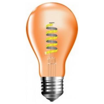 LED V-TAC Λάμπα Ε27 4W Spiral Filament A60 Amber Cover Θερμό Λευκό 2200K 7335 (7335)