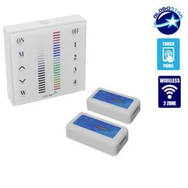 Σετ Ασύρματο RF 2.4G LED Controller Τοίχου Αφής RGB 12-24 Volt 288/576 Watt για Δύο Group GloboStar 04052