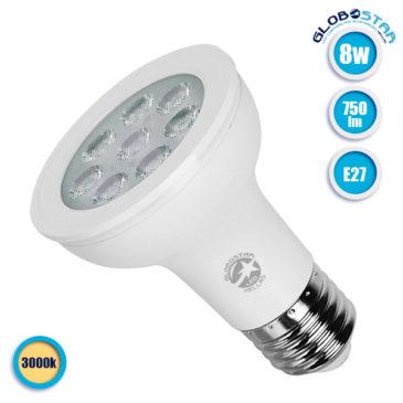 Λάμπα LED E27 PAR20 Σποτ 8W 230V 750lm 90° Θερμό Λευκό 3000k GloboStar 75517