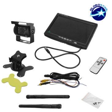 Ασύρματη Wireless Κάμερα Οπισθοπορείας με Οθόνη 7″ 10-30V με Ασύρματο Χειριστήριο για Αυτοκίνητα και Φορτηγά GloboStar 77349