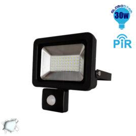 Προβολέας LED Slim Pad 30W 230V 3000lm 120° Αδιάβροχος IP66 με Αισθητήρα Ψυχρό Λευκό 6000k GloboStar 11127
