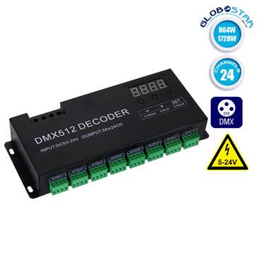 LED DMX 512 RGB Controller 24 Channels 12V 864 Watt – 24V 1728 Watt GloboStar 15142