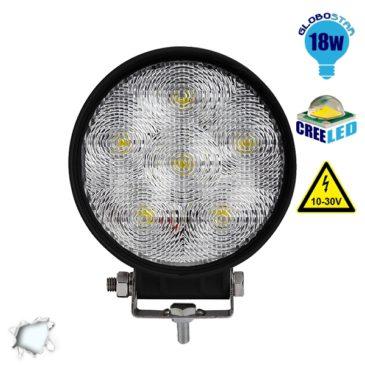 Προβολέας LED Εργασίας Στρογγυλός 18W 10-30V 2520lm 30° Αδιάβροχος IP65 Ψυχρό Λευκό 6000k GloboStar 29991