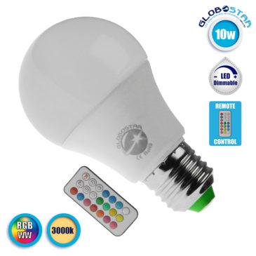 Λάμπα LED E27 A60 Γλόμπος 10W 230V 650lm 260° με Ασύρματο Χειριστήριο RGB & Θερμό Λευκό 3000k GloboStar 88969