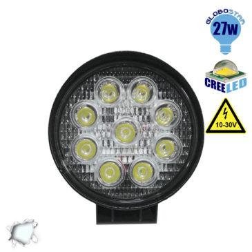Προβολέας LED Εργασίας Στρογγυλός 27W 10-30V 3780lm 30° Αδιάβροχος IP65 Ψυχρό Λευκό 6000k GloboStar 30000