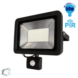 Προβολέας LED Slim Pad 50W 230V 5000lm 120° Αδιάβροχος IP66 με Αισθητήρα Ψυχρό Λευκό 6000k GloboStar 11128