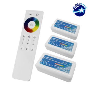 Σετ Ασύρματο RF 2.4G LED Controller Αφής RGB 12-24 Volt για Τρια Groups GloboStar 04242