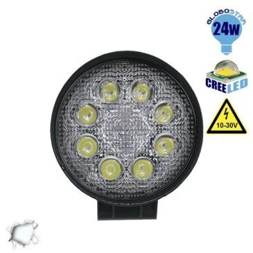 Προβολέας LED Εργασίας Στρογγυλός 24W 10-30V 3360lm 30° Αδιάβροχος IP65 Ψυχρό Λευκό 6000k GloboStar 29999