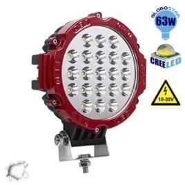 Προβολέας LED Εργασίας Κόκκινος Στρογγυλός 63W 10-30V 8820lm 30° Αδιάβροχος IP65 Ψυχρό Λευκό 6000k GloboStar 05197