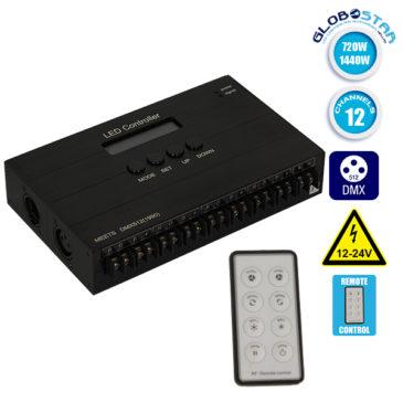 LED DMX512 RGB Controller 12 Channels 12V 720 Watt – 24V 1440 Watt GloboStar 15140