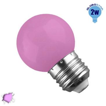 Λάμπα LED E27 G45 Mini Γλόμπος 2W 230V 260° Ροζ GloboStar 64010