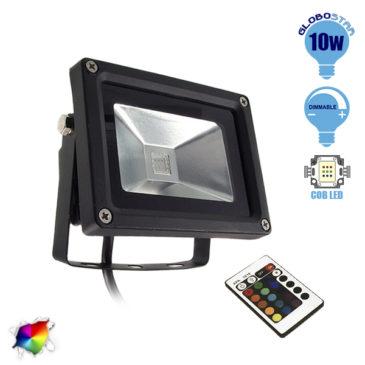 Προβολέας LED 10W 230V 650lm 120° Αδιάβροχος IP66 με Ασύρματο Χειριστήριο RGB GloboStar 62001