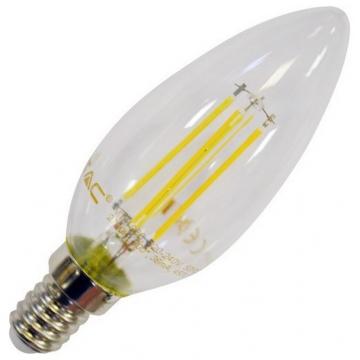 LED V-TAC Λαμπα E14 4W κερακι Retro Look Edison Θερμό Λευκό (4301)