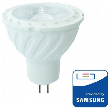 LED Σποτ VTAC MR16 (GU5.3) 12V 6,5W SAMSUNG CHIP Plastic 110° Lens Ψυχρό Λευκό (206)