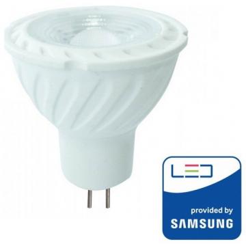 LED Σποτ VTAC MR16 (GU5.3) 12V 6,5W SAMSUNG CHIP Plastic 110° Lens Θερμό Λευκό (204)