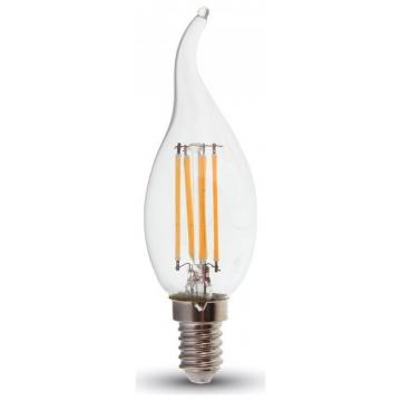 LED V-TAC Λάμπα E14 4W Κεράκι Filament Διάφανο SAMSUNG CHIP Σχήμα Φλόγας Θερμό Λευκό (275)