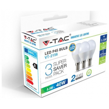 LED V-TAC Λάμπα E14 Μπαλάκι P45 5.5W Ψυχρό Λευκό Πακέτο 3 Τεμαχίων 7359 (7359)