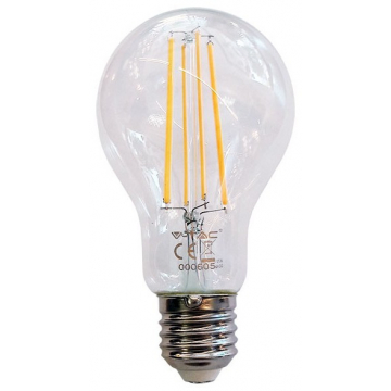 LED V-TAC Λάμπα Ε27 12.5W Filament A70 Διάφανο Θερμό 3000K 7458 (7458)