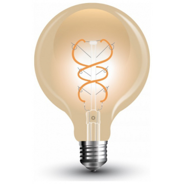 LED V-TAC Λάμπα Ε27 5W Filament G125 Amber Γυαλί Θερμό Λευκό 2200Κ Dimmable (7415)