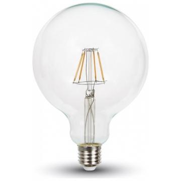 LED V-TAC Λάμπα Ε27 6W Filament G125 Διάφανο Ψυχρό Λευκό 6400K 7427 (7427)
