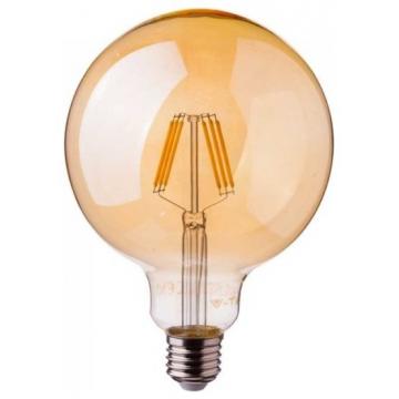 LED V-TAC Λάμπα Ε27 6W Filament G125 SAMSUNG CHIP Amber Cover Θερμό Λευκό 2200K 291 (291)