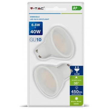 LED VTAC Spot GU10 6.5W Plastic 38° Blister 2 Τεμαχίων Φως Ημέρας Dimmable 7307 (7307)