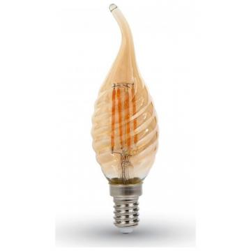 LED V-TAC Λάμπα Filament E14 Κεράκι 4W Twist Amber Cover Σχήμα Φλόγας Θερμό Λευκό 2700Κ 7116 (7116)