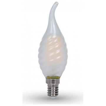 LED V-TAC Λάμπα Filament E14 Κεράκι 4W Twist Frost Cover Σχήμα Φλόγας Ψυχρό Λευκό 6400Κ (7112)