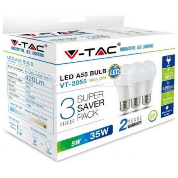 LED V-TAC Λάμπα E27 5W A55 Πακέτο των 3 Τεμαχίων Φως Ημέρας  7267 (7267)