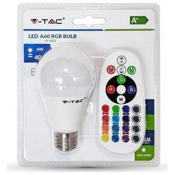 LED V-TAC Λάμπα 6W E27 A60 RGB + Θερμό Λευκό με ασύρματο χειριστήριο (7324)
