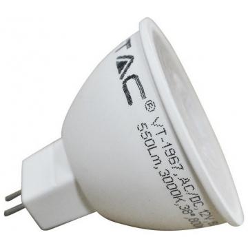 LED Σποτ VTAC MR16 12V 7W Plastic 38° Lens 550lm Θερμό Λευκό (1663)