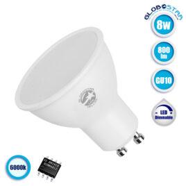Λάμπα LED Σποτ GU10 8W 230V 800lm 120° Ψυχρό Λευκό 6000k Dimmable GloboStar 01757