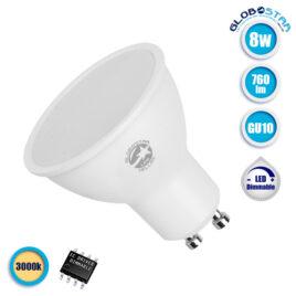 Λάμπα LED Σποτ GU10 8W 230V 760lm 120° Θερμό Λευκό 3000k Dimmable GloboStar 01759