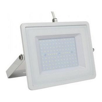 LED  Προβολέας V-TAC 100W Λευκός SLIM SMD με Λευκό Καλώδιο 8500lm Ψυχρό Λευκό 5972