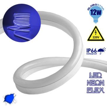 NEON FLEX LED Λευκή 1m 12W/m 230V 120 SMD/m 2835 SMD 450lm/m 120° Αδιάβροχη IP66 Μπλε Dimmable GloboStar 22505