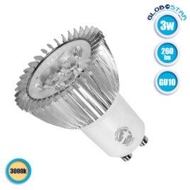 Λάμπα LED Σποτ GU10 3W 230V 260lm 45° Θερμό Λευκό 3000k GloboStar 77396