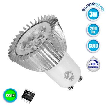 Λάμπα LED Σποτ GU10 3W 230V 200lm 45° Πράσινο Dimmable GloboStar 88955