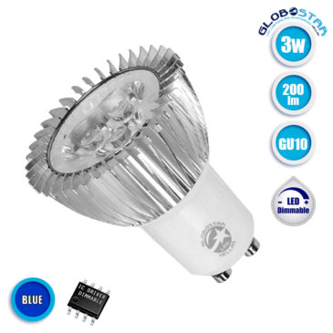 Λάμπα LED Σποτ GU10 3W 230V 200lm 45° Μπλε Dimmable GloboStar 88956