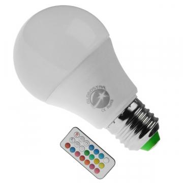 Λάμπα LED E27 A60 Γλόμπος 10W 230V 650lm 260° με Ασύρματο Χειριστήριο RGB & Θερμό Λευκό 3000k GloboStar 88969 (88969)