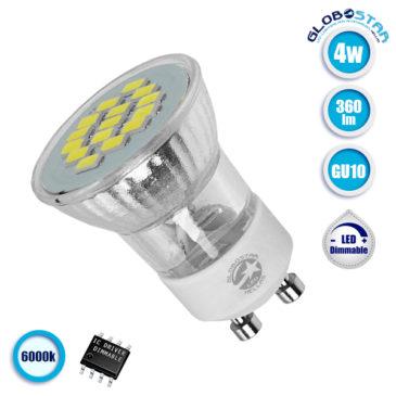 Λάμπα LED Σποτ M35 GU10 4W 230V 360lm 120° Ψυχρό Λευκό 6000k GloboStar 90600